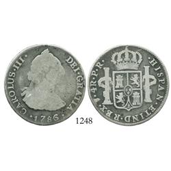 Potosi, Bolivia, bust 4 reales, Charles III, 1786PR.