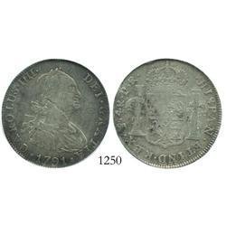 Potosi, Bolivia, bust 4 reales, Charles IV, 1791PR, encapsulated PCI EF-45.