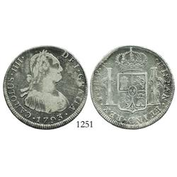 Potosi, Bolivia, bust 4 reales, Charles IV, 1793PR.