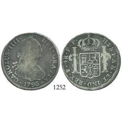 Potosi, Bolivia, bust 4 reales, Charles IV, 1796PP.