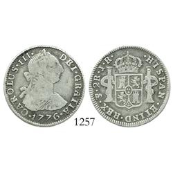 Potosi, Bolivia, bust 2 reales, Charles III, 1776JR, desirable date.
