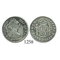 Potosi, Bolivia, bust 1 real, Charles III, 1776PR, desirable date.