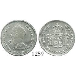 Potosi, Bolivia, bust 1 real, Charles III, 1779PR.
