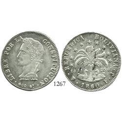 Potosi, Bolivia, 8 soles, 1860FJ.
