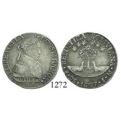 Potosi, Bolivia, 2 soles, 1827JM.