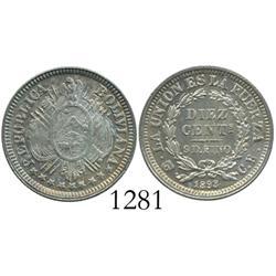 Potosi, Bolivia, 10 centavos, 1893CB, Mint State.