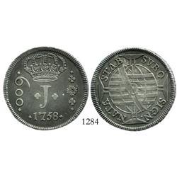 Brazil (Bahia mint), 600 reis, 1758-B.