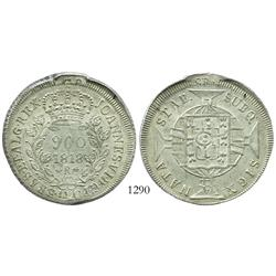 Brazil (Rio mint), 960 reis, 1818-R, struck over Spanish colonial bust 8 reales.