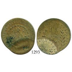 Brazil (Rio mint), copper 20 reis, 1829-R, unique error with second strike (restrike?) approx. 60% o