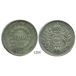 Brazil, 1200 reis, 1847.