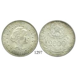Brazil, 2000 reis, 1913 (dashes between stars).