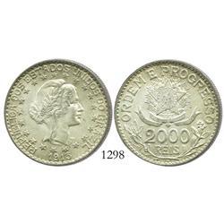 Brazil (struck at the Berlin mint), 2000 reis, 1913-A (no dashes between stars).