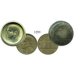 "Lot of 2 Brazil aluminum-bronze 1000 reis, 1938, CB under chin, one mis-struck (rare ""hat"" error)."