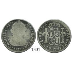 Santiago, Chile, bust 2 reales, Charles III, 1781DA.
