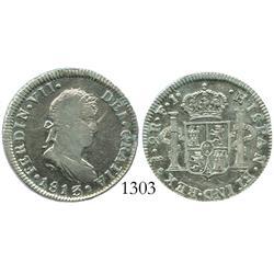 Santiago, Chile, bust 2 reales, Ferdinand VII, 1813FJ.