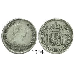 Santiago, Chile, bust 1 real, Charles IV transitional (bust of Charles III, ordinal IIII), 1791DA.