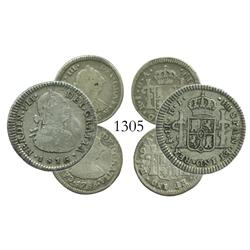Lot of 3 Santiago, Chile, bust minors: 1 real, Ferdinand VII (bust of Charles IV), 1816FJ; 1/2 real,