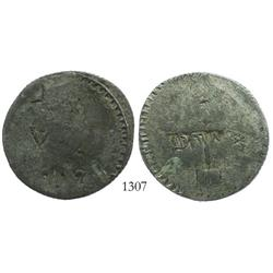 Valdivia, Chile, post-1830 countermark on 1822 provisional 8 reales (billon silver), rare.