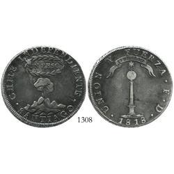 """Santiago, Chile, """"volcano"""" peso, 1818FD."""