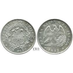 Santiago, Chile, peso, 1853.