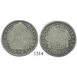 Bogota, Colombia, bust 2 reales, Charles III, 1772VJ.
