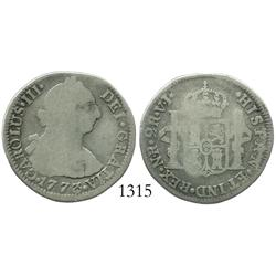 Bogota, Colombia, bust 2 reales, Charles III, 1773VJ.