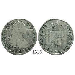 Bogota, Colombia, bust 2 reales, Charles IV, 1792JJ, rare.