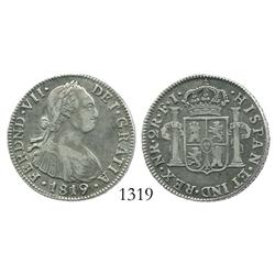 Bogota, Colombia, bust 2 reales, Ferdinand VII (bust of Charles IV), 1819FJ.