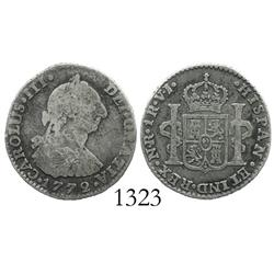 Bogota, Colombia, bust 1 real, Charles III, 1772VJ, rare.