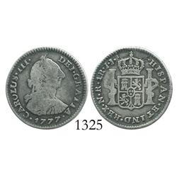 Bogota, Colombia, bust 1 real, Charles III, 1777JJ, rare.