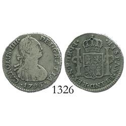 Bogota, Colombia, bust 1 real, Charles IV, 1796JJ.