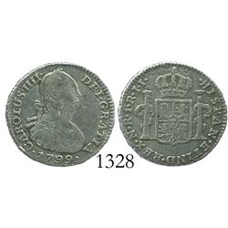Bogota, Colombia, bust 1 real, Charles IV, 1799/99JJ.