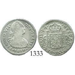 Bogota, Colombia, bust 1 real, Ferdinand VII (bust of Charles IV), 1819FJ (inverted J).