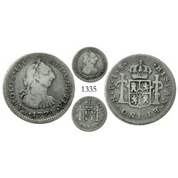 Popayan, Colombia, bust 1/2 real, Charles III, 1774JS.