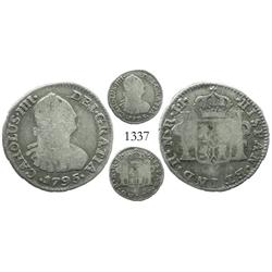 Bogota, Colombia, bust 1/2 real, Charles IV, 1795JJ, rare.