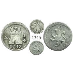 Bogota, Colombia, 1/4 real, Ferdinand VII, 1817.