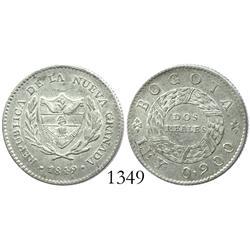 Bogota, Colombia, 2 reales, 1849.