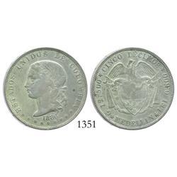 Medellin, Colombia, 5 decimos, 1886, 4 stars in reverse legend, LEI (not LEV), 0.500/0.835, rare.