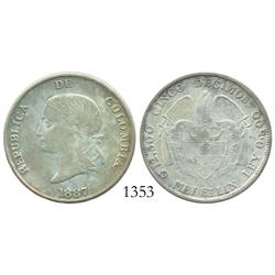 Medellin, Colombia, 5 decimos, 1887, 2/inverted 2 and 5/inverted 5 in legend, rare.