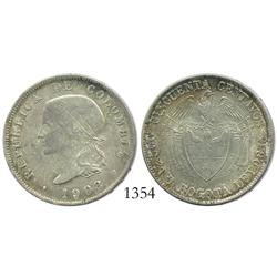 Bogota, Colombia, 50 centavos, 1908, rare grade and quality of strike, 3-year type.