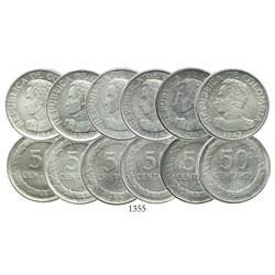 Study set of 6 Bogota, Colombia, 50 centavos, 1947-1948 (most with overdates).