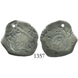 Costa Rica, 2 reales counterstamp (Type V), 1846-JB, on Potosi, Bolivia, cob 2 reales of 1731M, scar