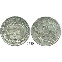 Costa Rica, 50 centavos, 1887GW.