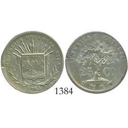 Costa Rica, 25 centavos, 1865GW, large denomination.