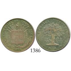 Costa Rica, 25 centavos, 1875GW.