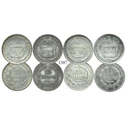 Lot of 4 Costa Rica 25 centavos, 1886-7GW, including both major varieties (9Ds-GW and GW-9Ds) for ea