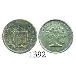 Costa Rica, 5 centavos, 1872GW, rare.