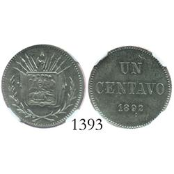 Costa Rica, pattern copper-nickel 1 centavo, 1892, encapsulated NGC MS-62.