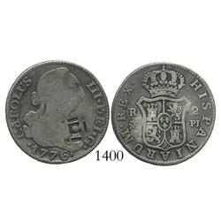 Cuba (Trinidad/Santiago/Principe), 2 reales, lattice countermark (1841) on a Madrid, Spain, milled 2