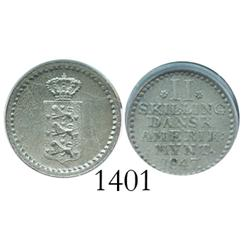 Danish West Indies, 2 skillings, 1847, encapsulated PCGS MS-64.